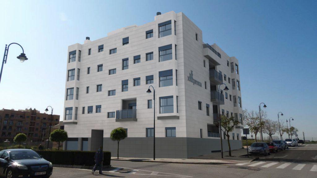fachada pisos obra nueva