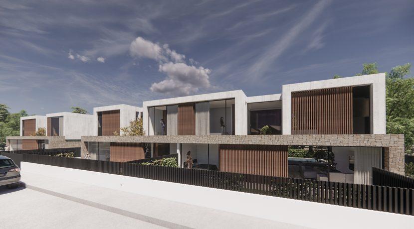 Conjunto de las tres viviendas desde la calle